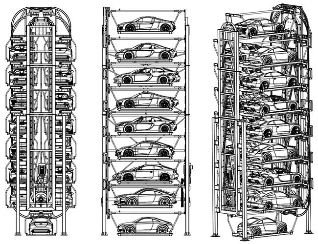 Estacionamiento Vertical Automatizado Rotativo de 16 Espacios Traxpark