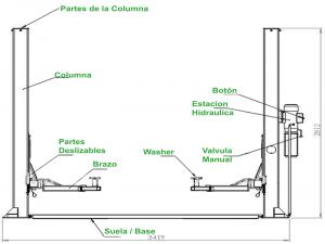 Especificaciones del Elevador de autos 40C Traxpark